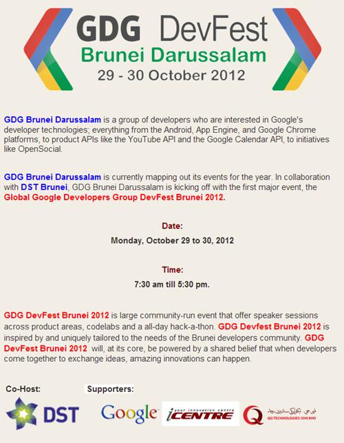 GDG DevFest Brunei 2012