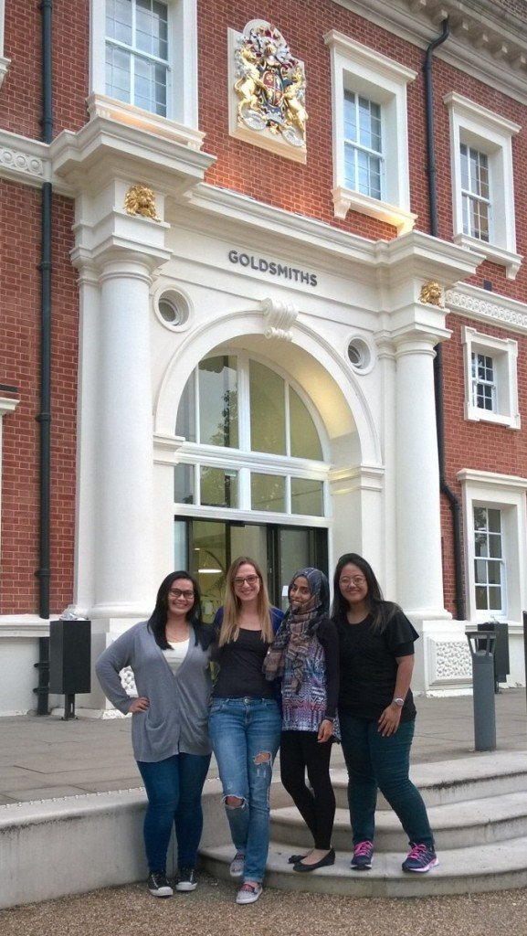 (L–R) Siti Nurfateha, Sofija from Macedonia, Fatma from Yemen and Retta from Indonesia, all Chevening Scholars at Goldsmiths